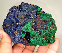 MALACHITE AZURITE lustrous crystals 95x80mm