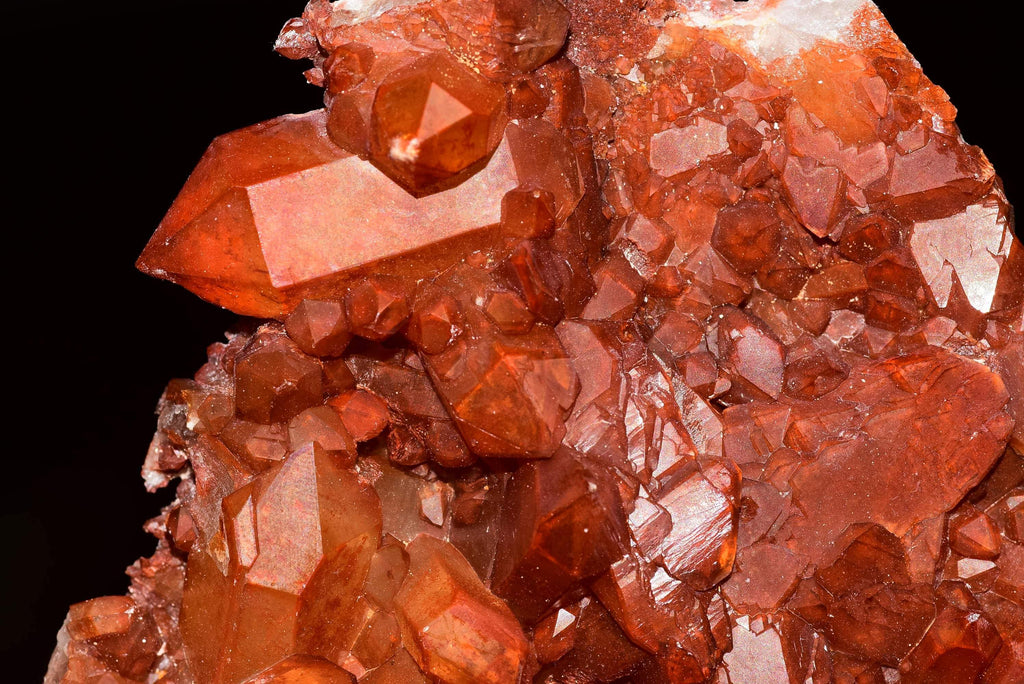 Cluster of red quartz var. ferruginous crystals. Great color and luster. Good form