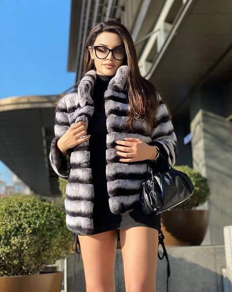 Women Chincilla Rex Fur Jacket