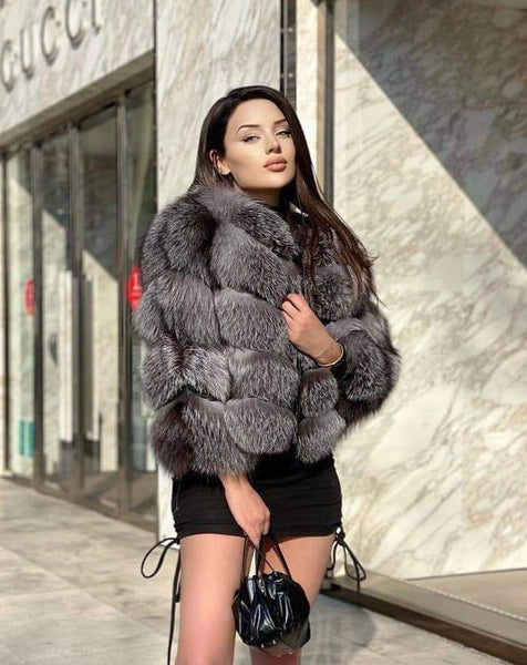 5-4 Women Silver Fross Fox Jacket
