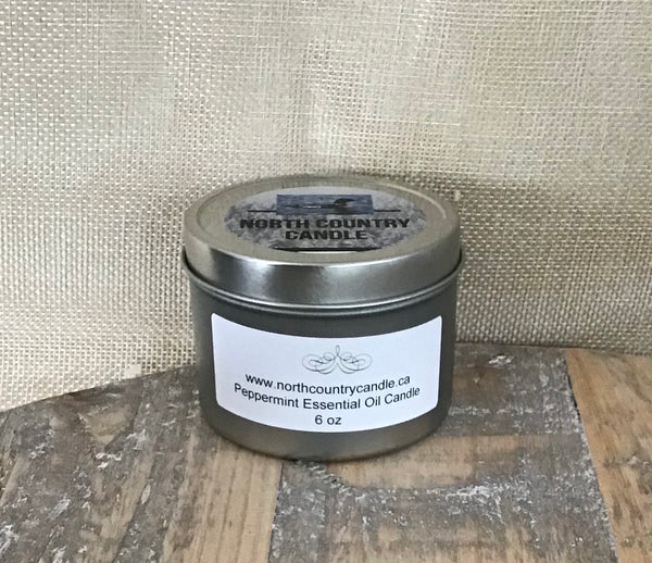 Essential Oil Candle - Peppermint - 6 oz candle tin