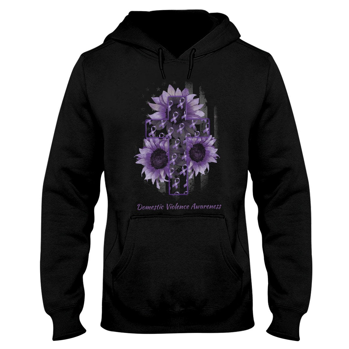 American Flag And The Cross Domestic Violence Awareness Hoodie