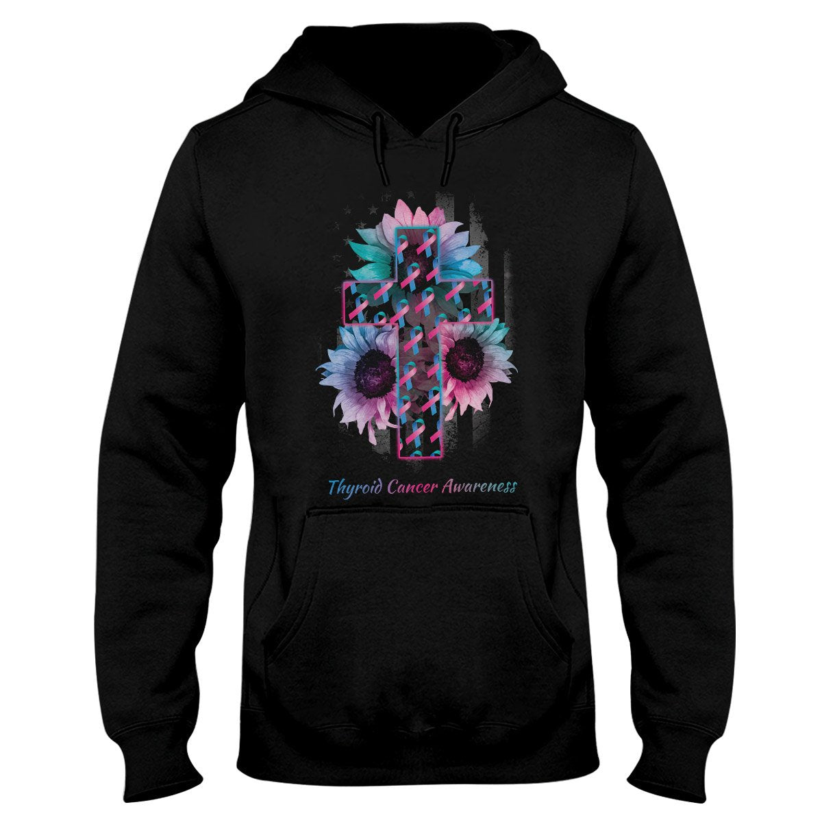American Flag And The Cross Thyroid Cancer Awareness Hoodie