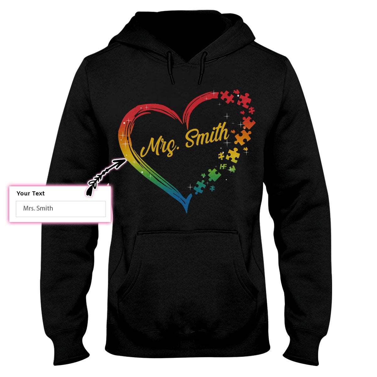 Autism Puzzle Heart Personalized Custom Hoodie