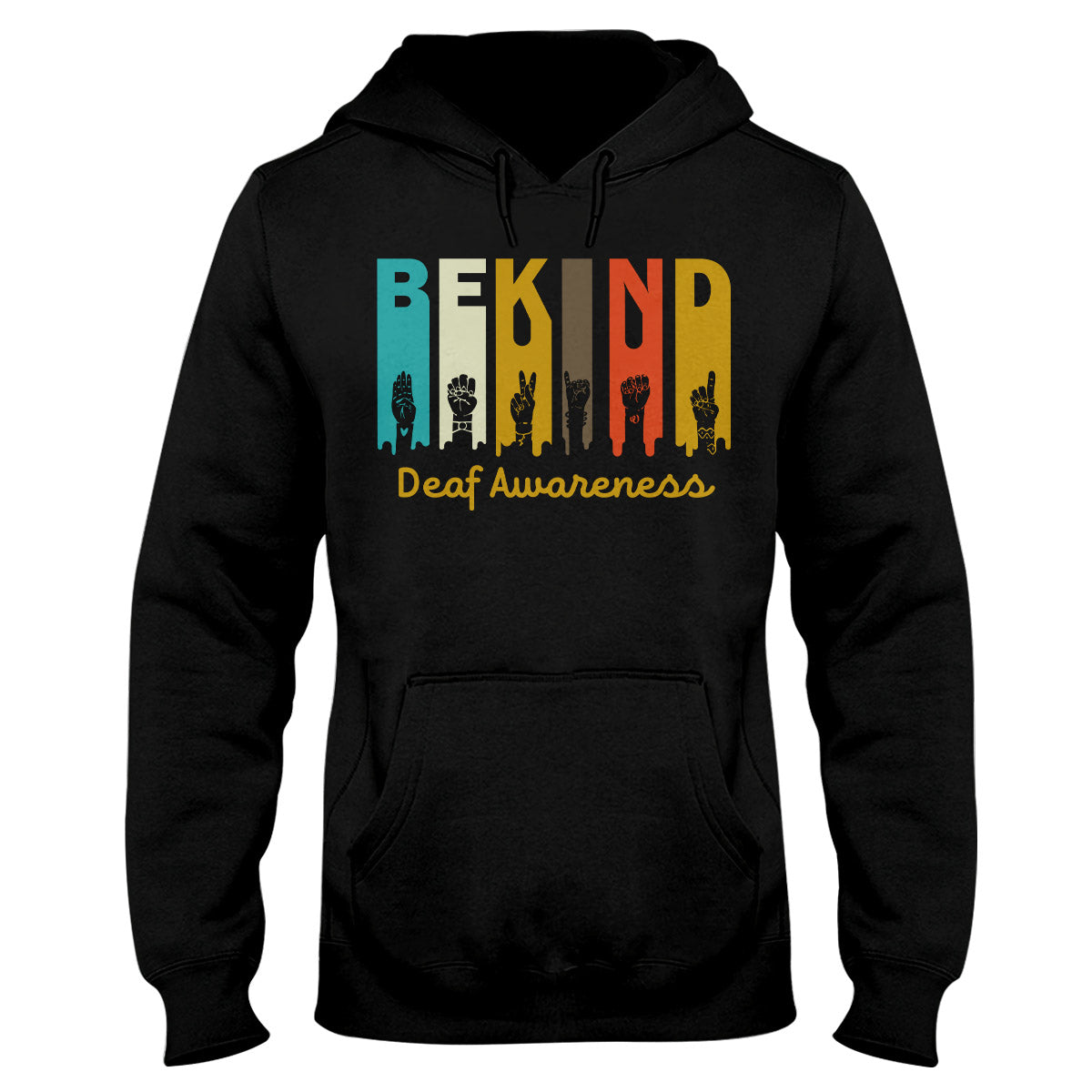Be Kind Hand Gestures Deaf Awareness Hoodie