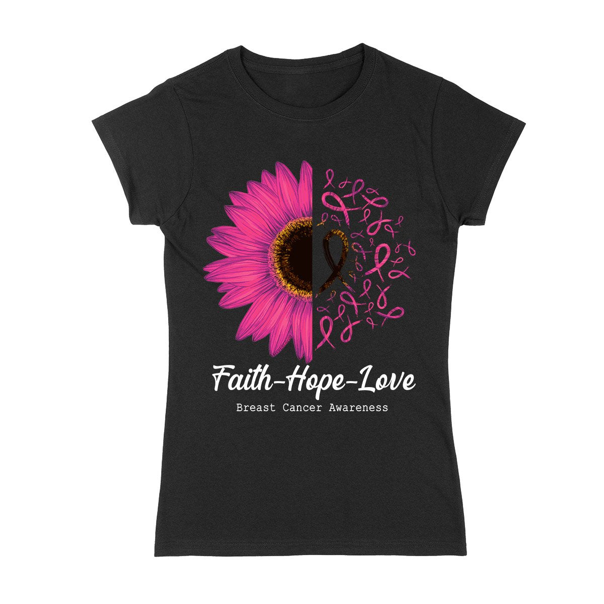 Breast Cancer Sunflower Ladies T-shirt