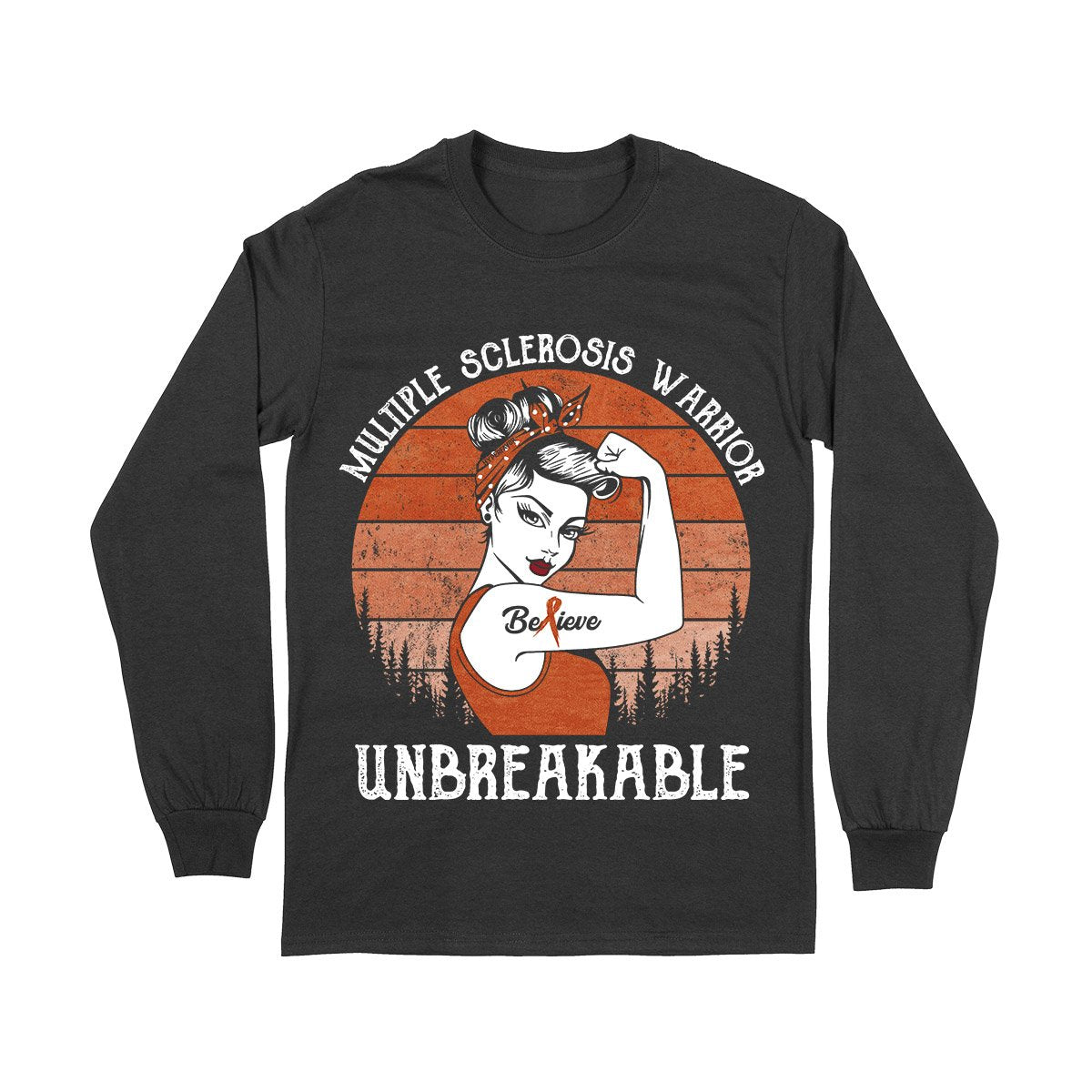 Unbreakable MS Warrior Long Sleeve T-shirt, MS Awareness Shirt, Multiple Sclerosis Awareness Gifts