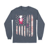 Tye Die American Flag Breast Cancer Awareness Long Sleeve T-Shirt