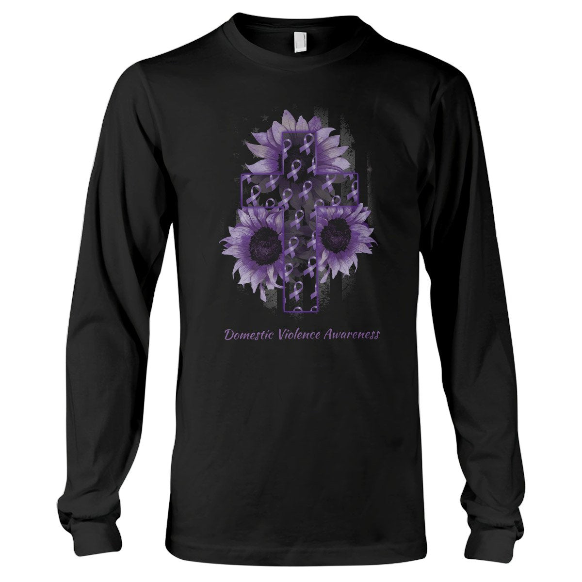 American Flag And The Cross Domestic Violence Awareness Long Sleeve T-Shirt