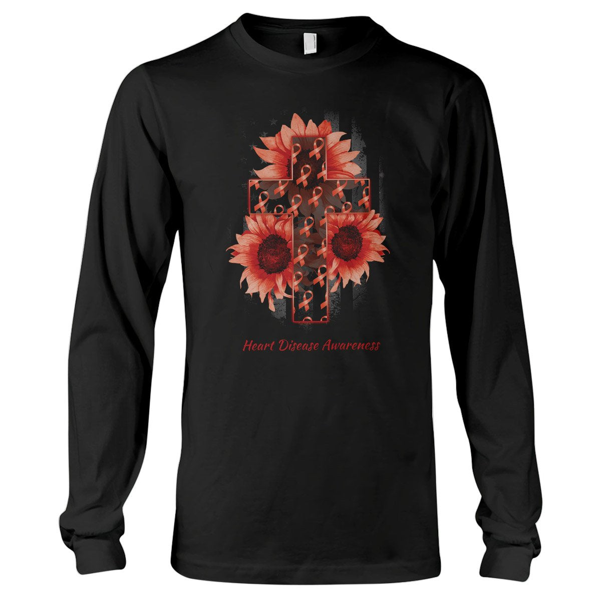 American Flag And The Cross Heart Disease Awareness Long Sleeve T-Shirt
