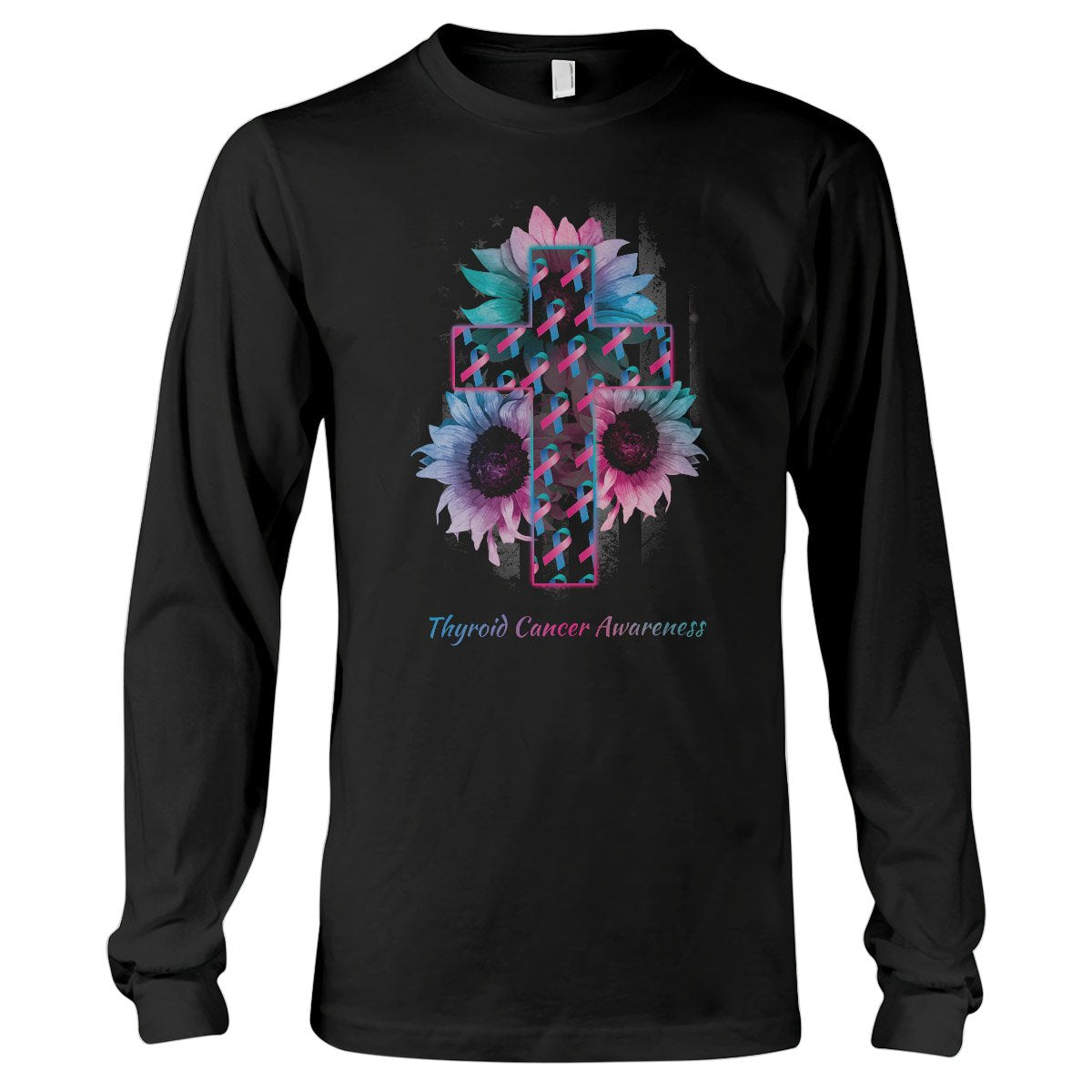 American Flag And The Cross Thyroid Cancer Awareness Long Sleeve T-Shirt