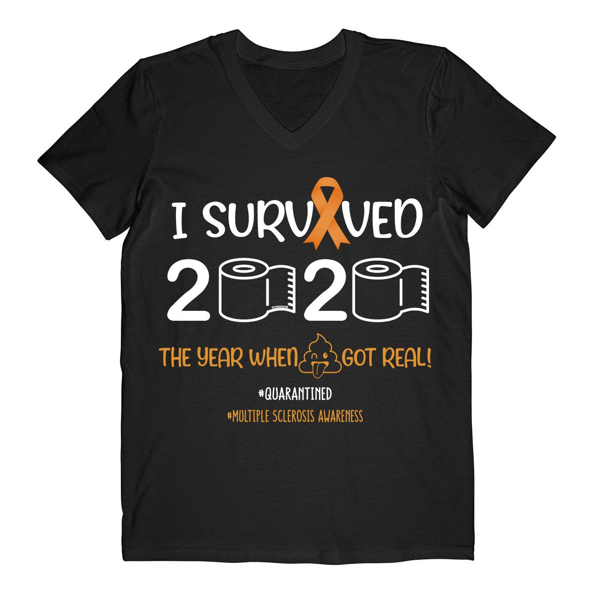 I Survived 2020 MS Men V-neck T-shirt, MS Awareness Month Shirt, Multiple Sclerosis Awareness Gifts