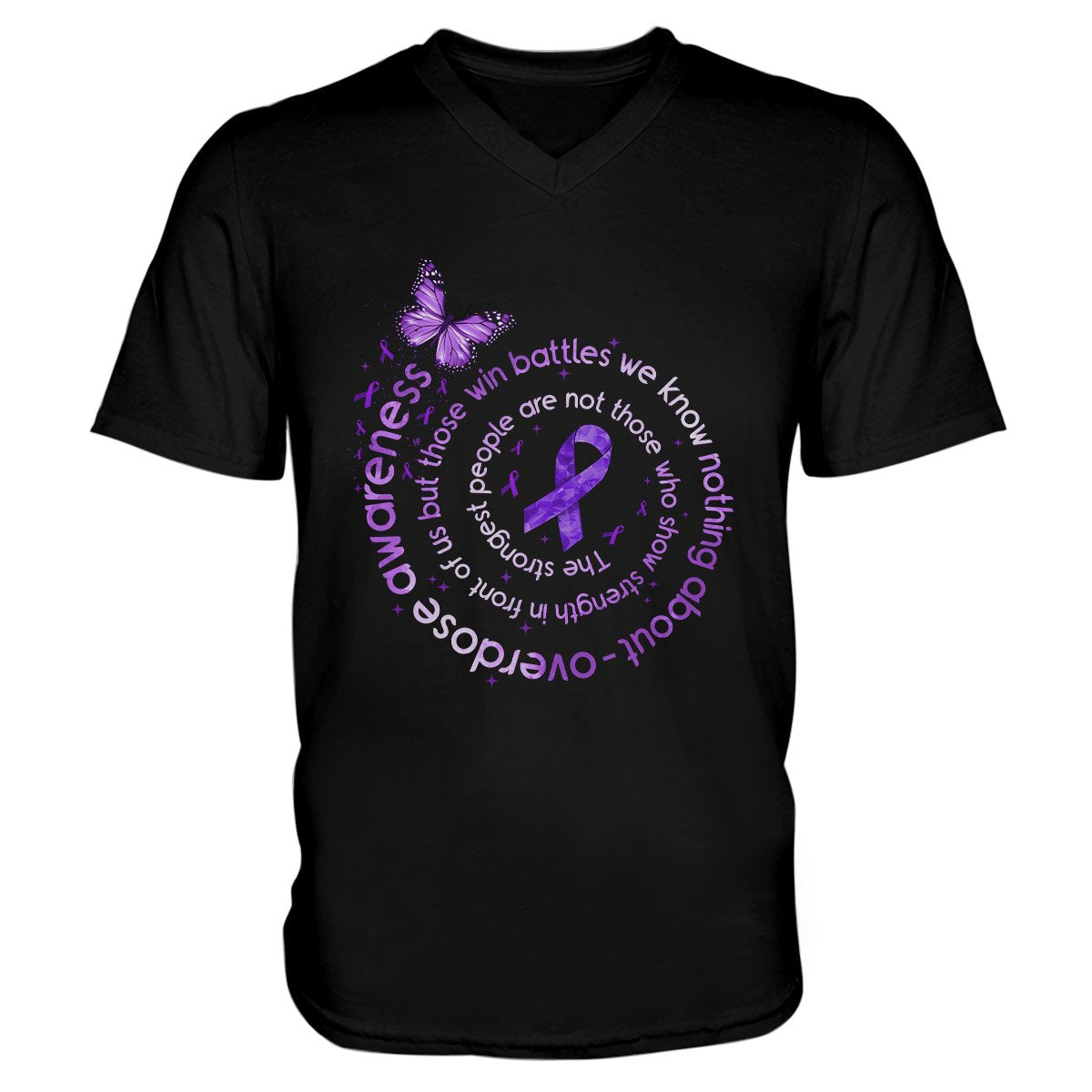 The Strongest People Overdose Awareness Men V-neck T-shirt