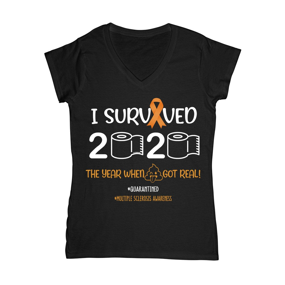 I Survived 2020 MS Women V-neck T-shirt, MS Awareness Month Shirt, Multiple Sclerosis Awareness Gift
