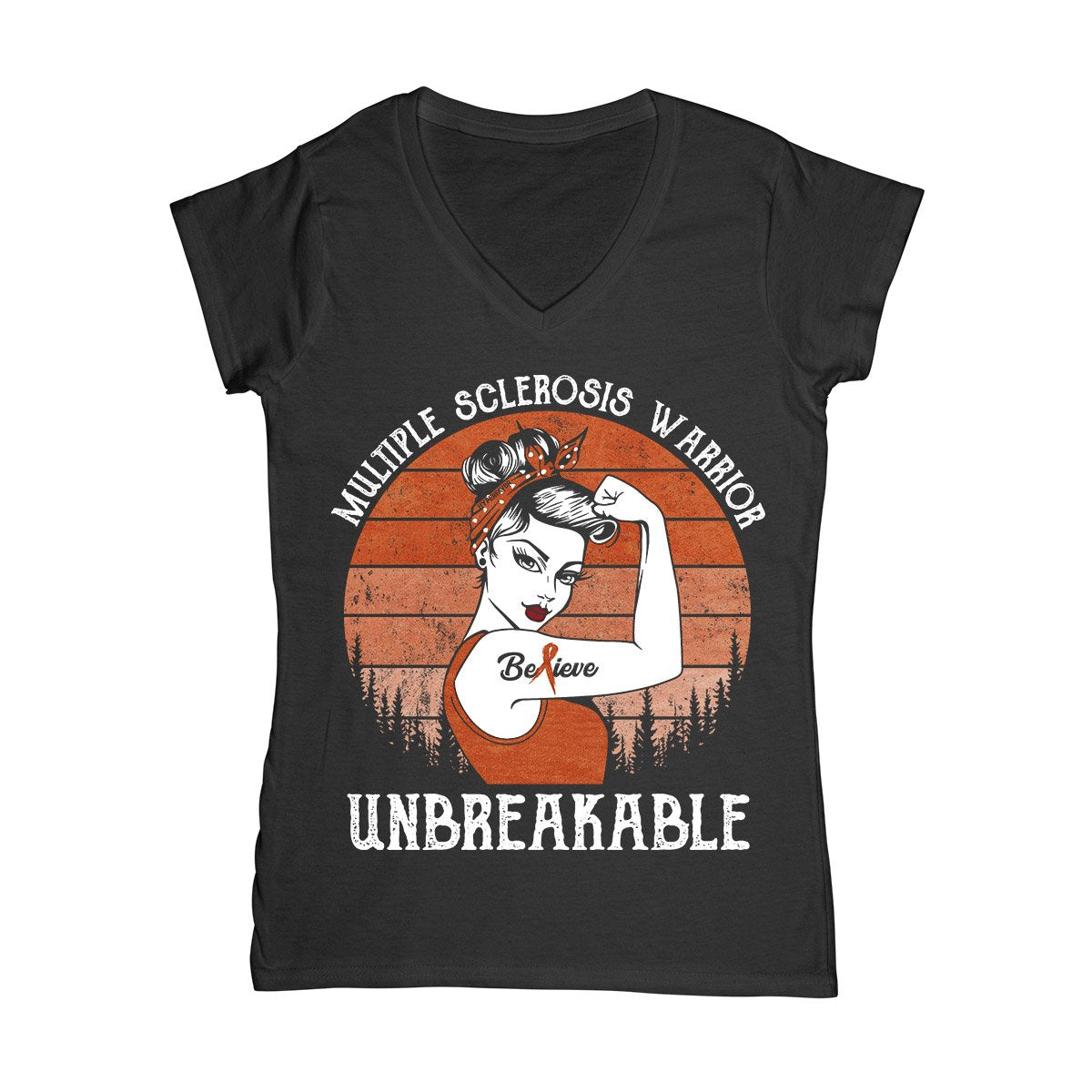 Unbreakable MS Warrior Women V-neck T-shirt, MS Awareness Shirt, Multiple Sclerosis Awareness Gifts