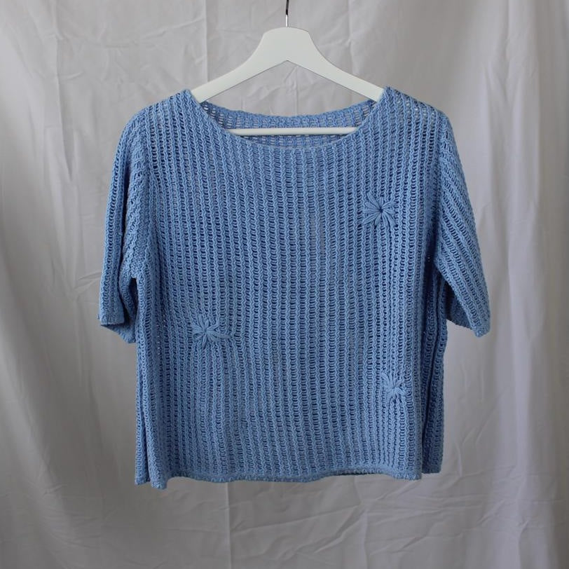 Blue Knitted T-Shirt L