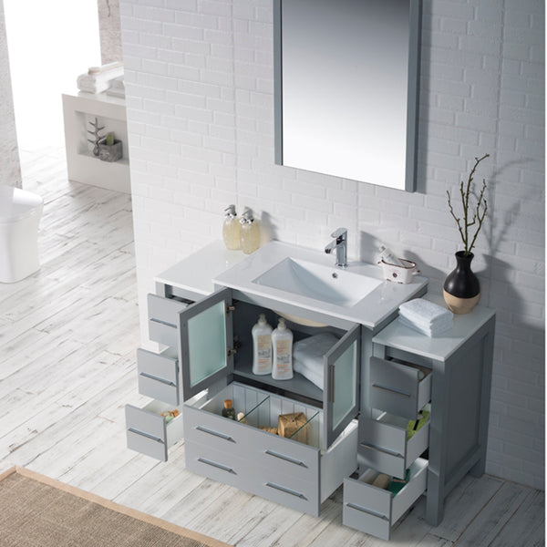 Sydney 54 Inch (Vanity Only) Metal Grey with side cabinet