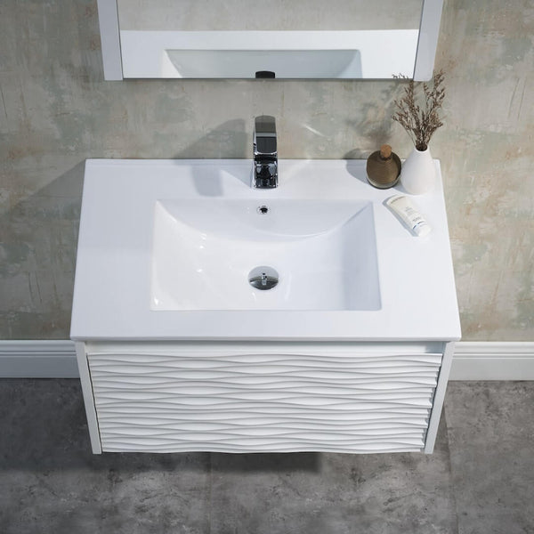 Paris 30 Inch Vanity – Glossy White (Vanity Only)