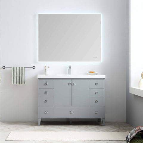 Lyon 48 Inch Vanity – Single Sink (Vanity Only) Matte Grey