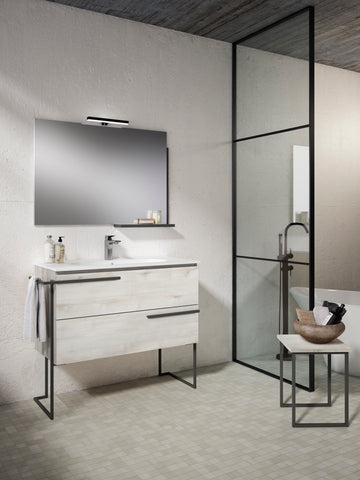 "Scala 40"" Vanity - Abedul with Legs and Towel Bar"