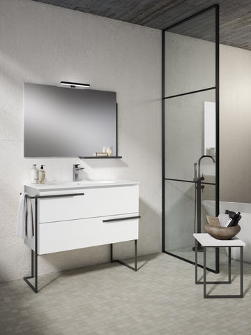 "Scala 40"" Vanity - White with Legs and Towel Bar"