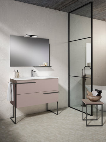 "Scala 40"" Vanity - Quarzo  with Legs and Towel Bar"