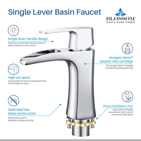 Elegant Single Handle Lavatory Faucet - Chrome