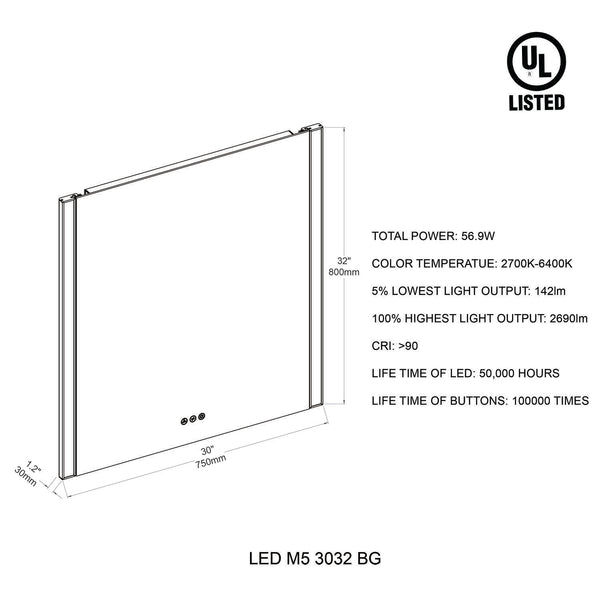 Binary 30″ LED Mirror- Matte Black