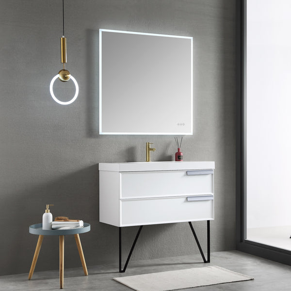 Beta 36″x36″ LED Mirror with Frosted Sides