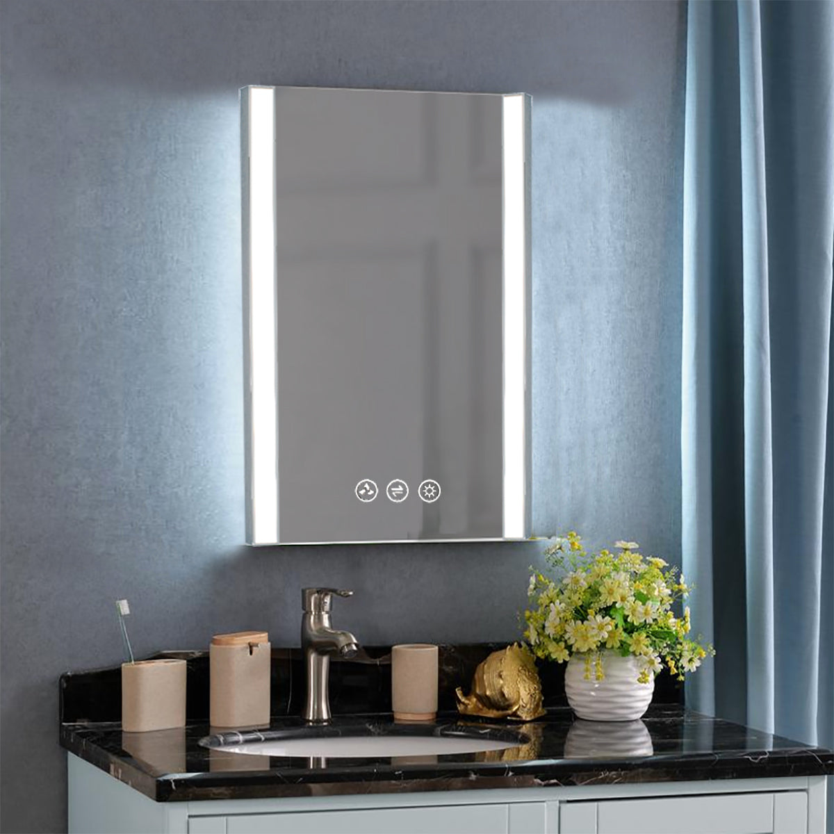 Binary 20″ LED Mirror - Chrome