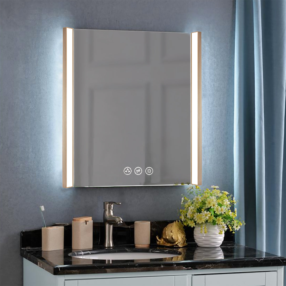 Binary 30″ LED Mirror - Gold