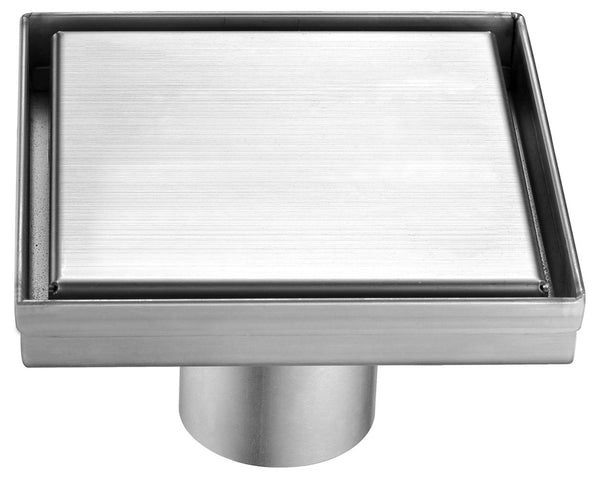 "ALFI brand  5""x5"" Square Brushed Stainless Steel Shower Drain w/ Solid Cover"