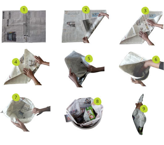 stepwise instructions from Daily Dump on how to make a newspaper cone for your dustbin and reduce plastic bags going to landfill