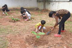 Children gardening during the lockdown at a vacant residential plot in Bangalore