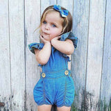 Baby Onesie Denim Jeans | Summer Baby Girl Clothes | Backless Infant Jumpsuit Romper - Babymodelz.com