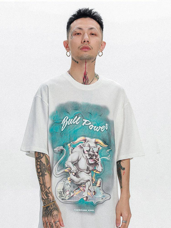 T-shirt Streetwear Japonais 'Bull Power'