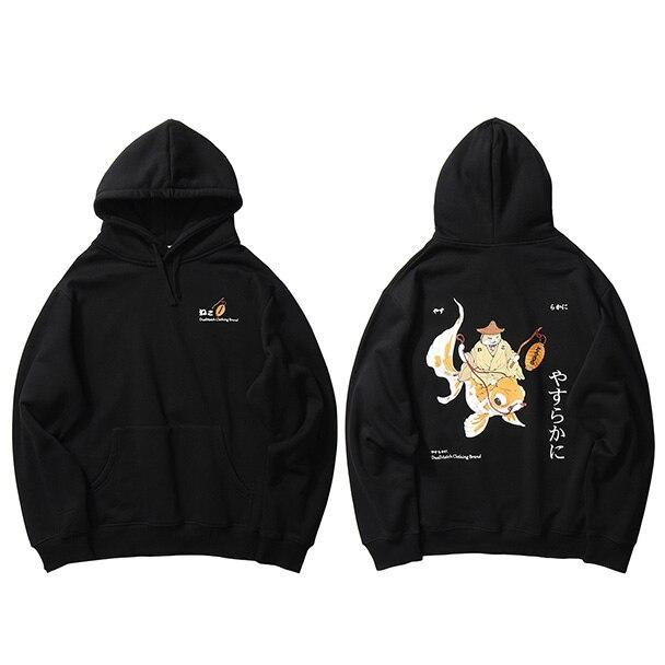 Sweat à Capuche Japonais Carpe Koi x Chat Neko