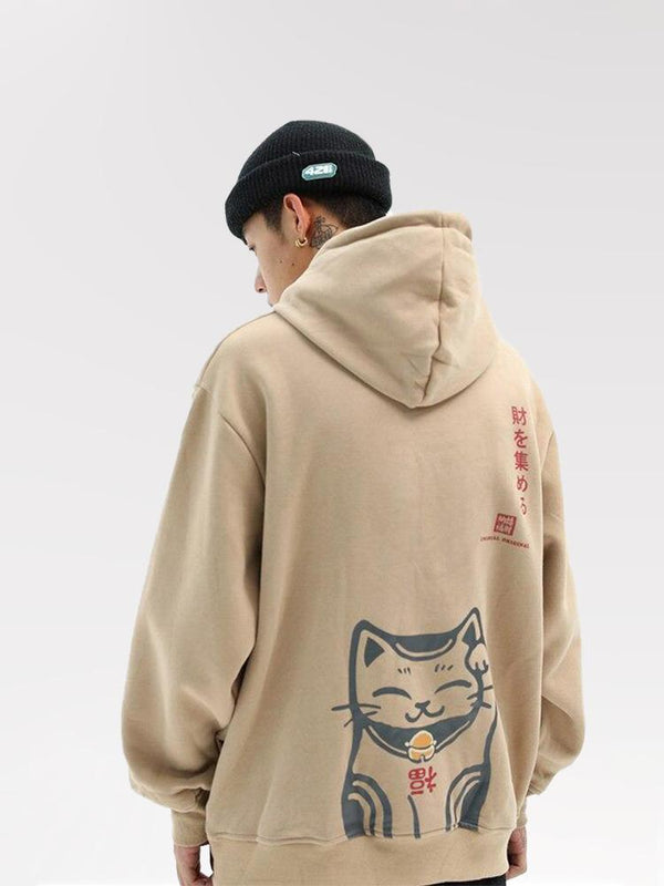 Sweat à Capuche Imprimé Chat Japonais
