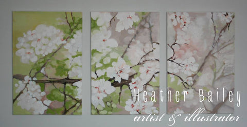 Almond blossoms painting in three panels