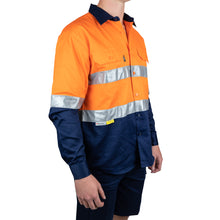 Load image into Gallery viewer, Long Sleeve Cotton Drill Shirt with Reflective Tape (BT102) - Ball Tearer