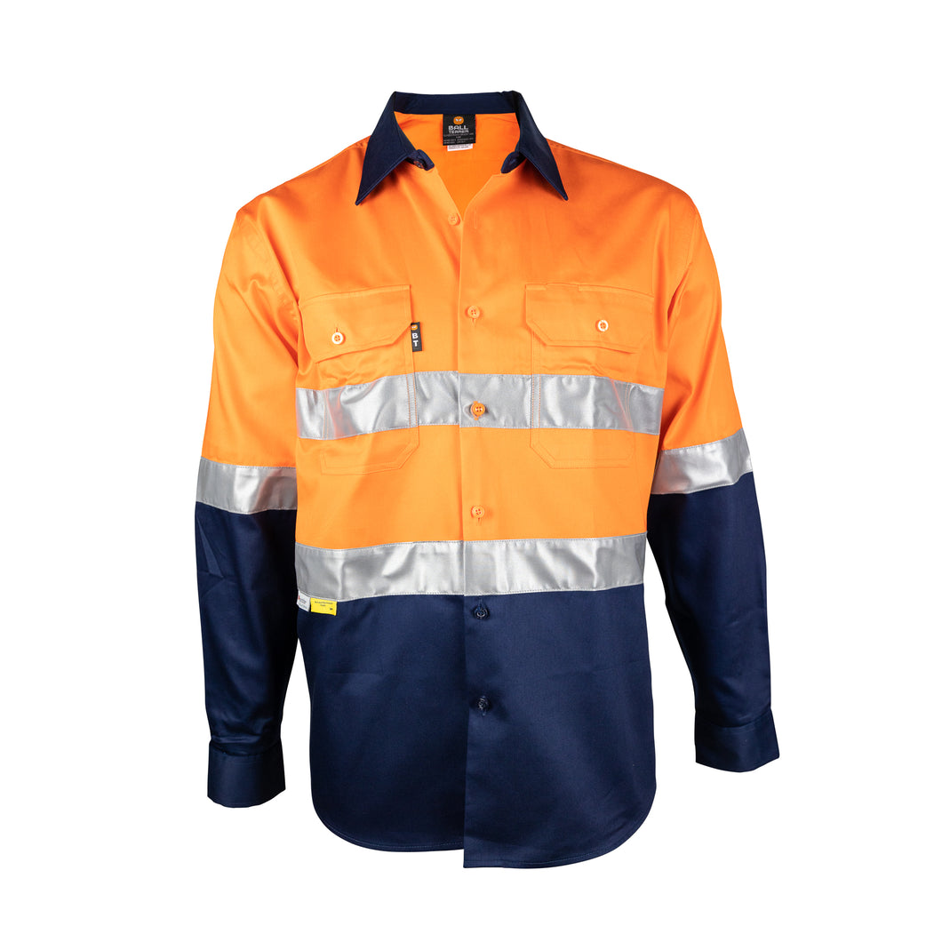 Long Sleeve Cotton Drill Shirt with Reflective Tape (BT102) - Ball Tearer