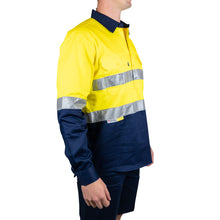 "Load image into Gallery viewer, Long Sleeve Cotton Drill ""Closed Front"" Shirt with Reflective Tape (BT103) - Ball Tearer"