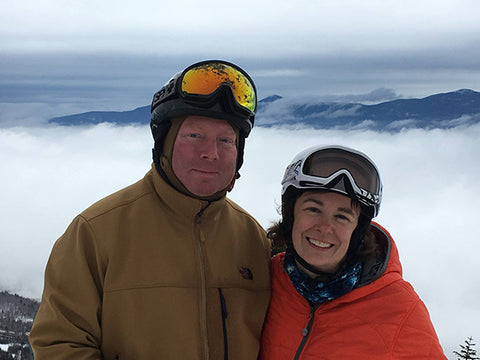 1901 Maine Flag owners husband and wife team skiing together