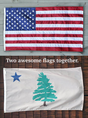 The USA American flag above the original 1901 Maine flag with words Two awesome flags fly together