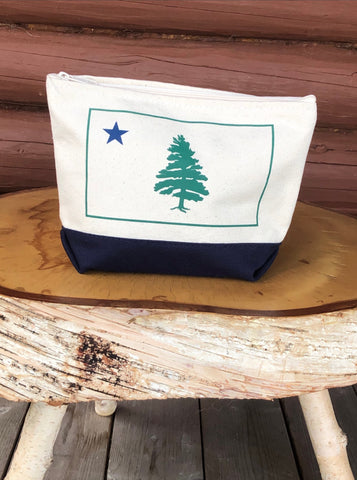Canvas zipper pouch 1901 original Maine flag screen printed on the front. Natural cream zipper pouch with navy bottom.