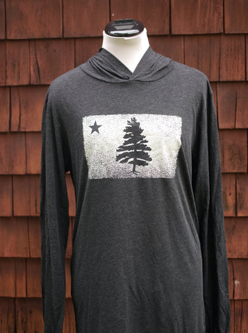 Super soft dark graphite grey long sleeve hoodie t-shirt with 1901 Original Maine Flag distressed and screen printed on the chest