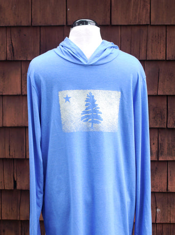 Super soft electric royal blue long sleeve hoodie t-shirt with 1901 Original Maine Flag distressed and screen printed on the chest