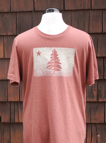 1901 Maine Flag Distressed Unisex T-Shirt - Clay