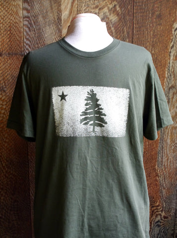 Super soft dark green short sleeve t-shirt with 1901 Original Maine Flag distressed logo screen printed on the chest