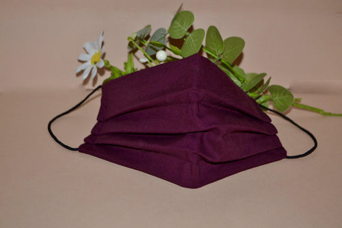 Burgundy Pleated Face Mask - Fly Sew Lovely Boutique